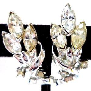 Vintage Coro Flower Leaf Rhinestone Screw Earrings